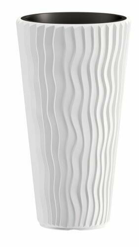 Maceta SANDY SLIM + inserto blanco 39 cm