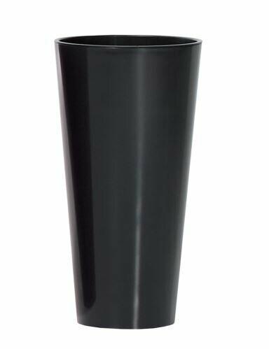 Maceta TUBUS SLIM + depósito antracita brillo 20cm