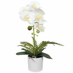 Orquídea artificial blanca con helecho 37 cm
