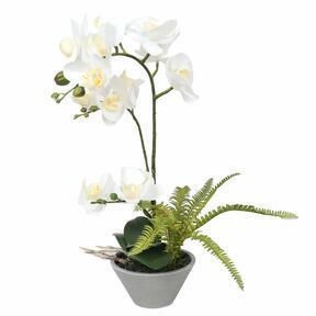 Orquídea artificial blanca con helecho 43 cm