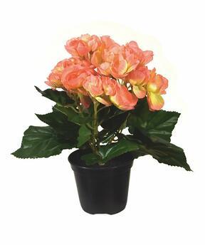 Planta artificial Begonia naranja 20 cm