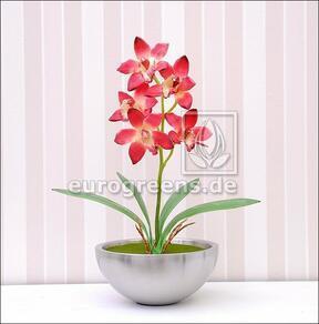 Planta artificial Orchidea Cymbidium burdeos rojo 50 cm