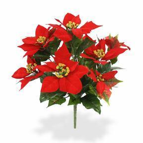 Planta artificial rosa navideña roja 40 cm