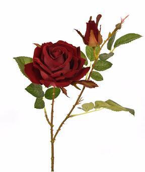 Rama artificial Rosa burdeos 60 cm