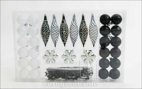 Set de adornos navideños en blanco y negro 49 piezas