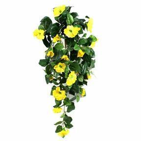 Zarcillo artificial Petunia amarillo 80 cm